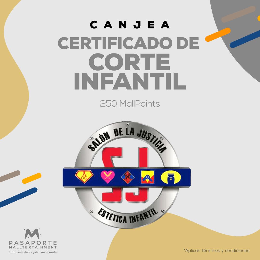 Certificado de corte de pelo infantil niño o niña.