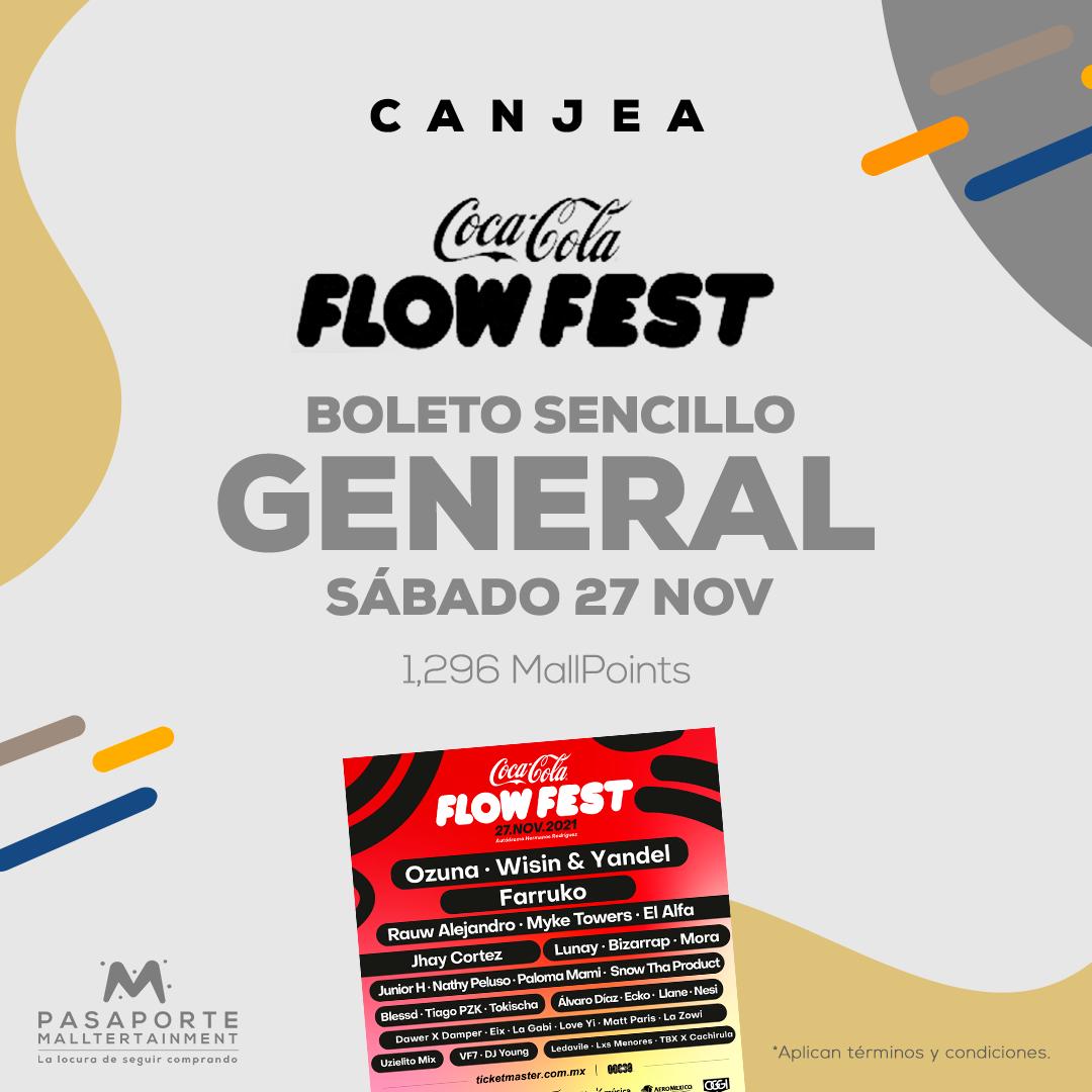 Boleto sencillo Coca cola flow fest General de pie