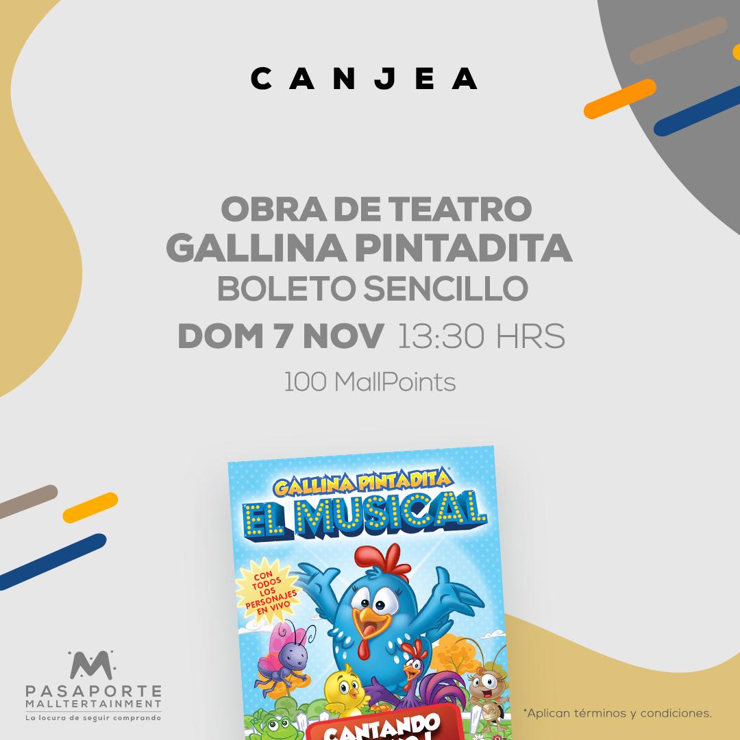 Boleto Sencillo Teatro interlomas Gallina Pintadita Dom 7 nov 13:30 hrs