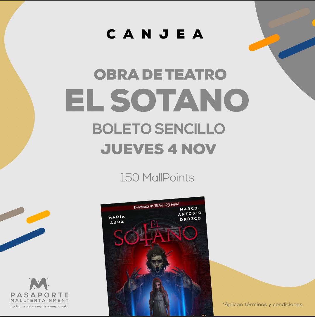 Boleto sencillo Teatro Interlomas El Sotano Jueves 4 nov 20:30 hrs